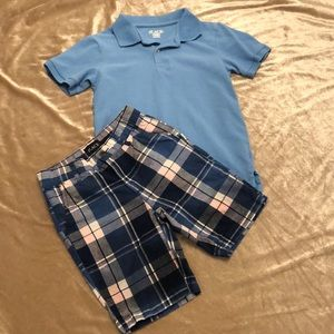 Children's Place blue polo and plaid shorts